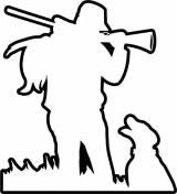 Gravstein Jeger med hund omriss
