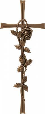 Gravstein Kors med rose P 23577