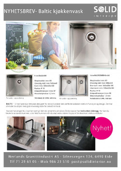 Nyhetsbrev Solid Interiør- Baltic kjøkkenvask fra Intra