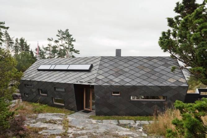 Otta firkantstein på tak og vegg fra MINERA SKIFER