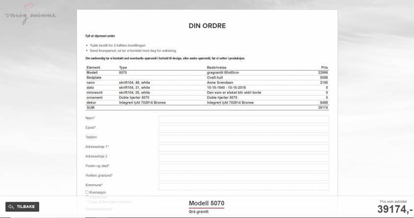 Steinbygger trinn 4 - bestilling  eller forespørsel