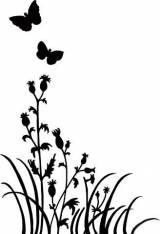 Gravstein Sommerfugler og markblomster