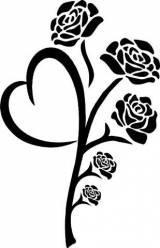 Gravstein Hjerterose med 5 roser